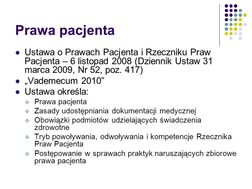 Prawa pacjenta Ustawa o Prawach Pacjenta i Rzeczniku Praw Pacjenta – 6 listopad 2008 (Dziennik Ustaw 31 marca 2009, Nr 52, poz.