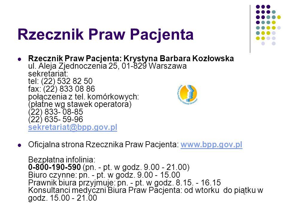 Rzecznik Praw Pacjenta Rzecznik Praw Pacjenta: Krystyna Barbara Kozłowska ul.