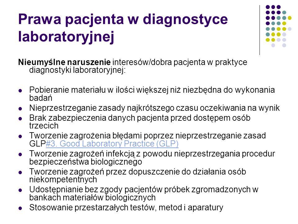 Prawa pacjenta w diagnostyce laboratoryjnej Nieumyślne naruszenie interesów/dobra pacjenta w praktyce diagnostyki laboratoryjnej: Pobieranie materiału w ilości większej niż niezbędna do wykonania badań Nieprzestrzeganie zasady najkrótszego czasu oczekiwania na wynik Brak zabezpieczenia danych pacjenta przed dostępem osób trzecich Tworzenie zagrożenia błędami poprzez nieprzestrzeganie zasad GLP#3.