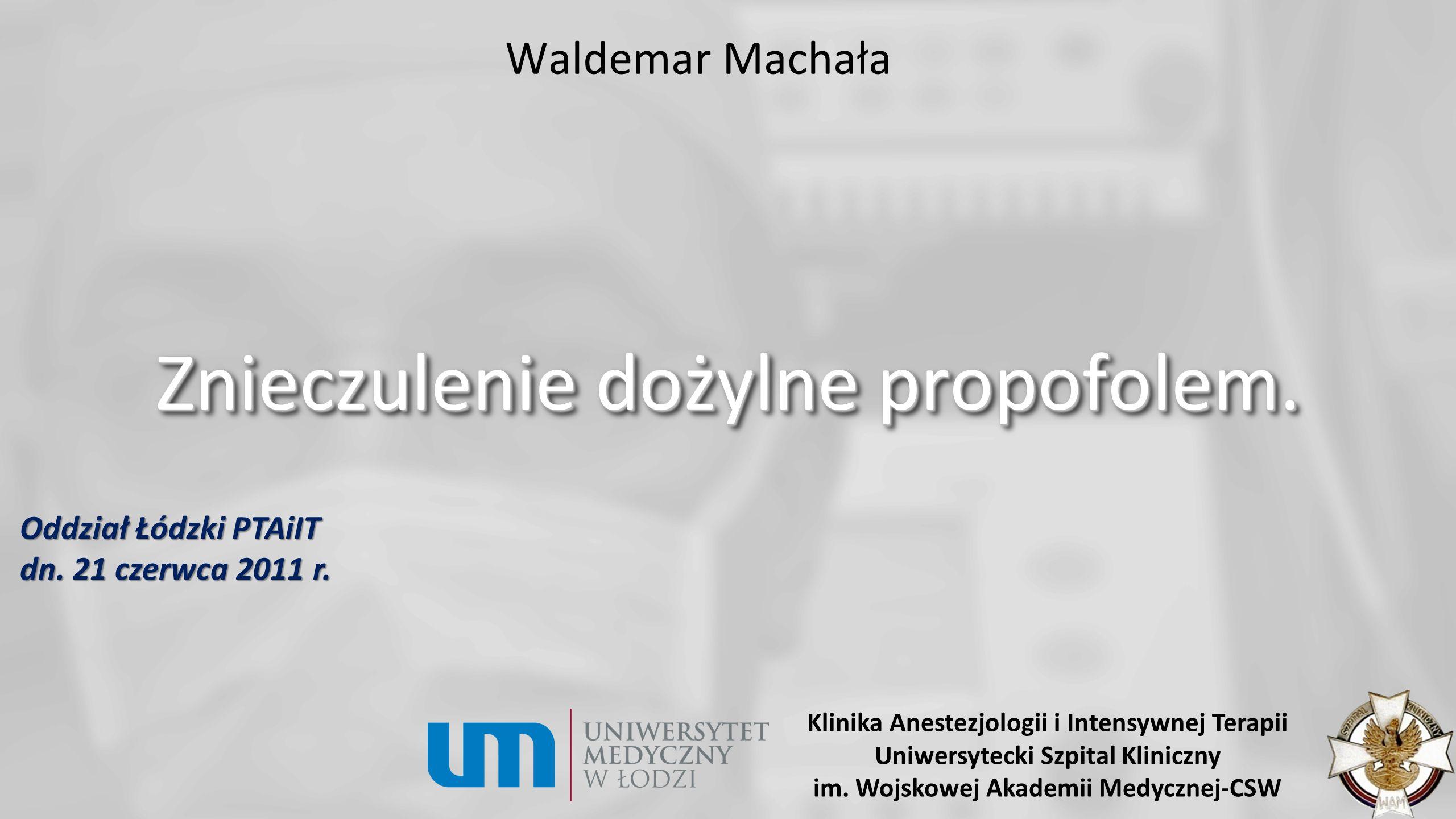 Propofol…, anestezja sterowana stężeniem leku we krwi (TCI) Założenie, przekładające się na zalety (programowanie pompy TCI): Wybór leku (z biblioteki leków).