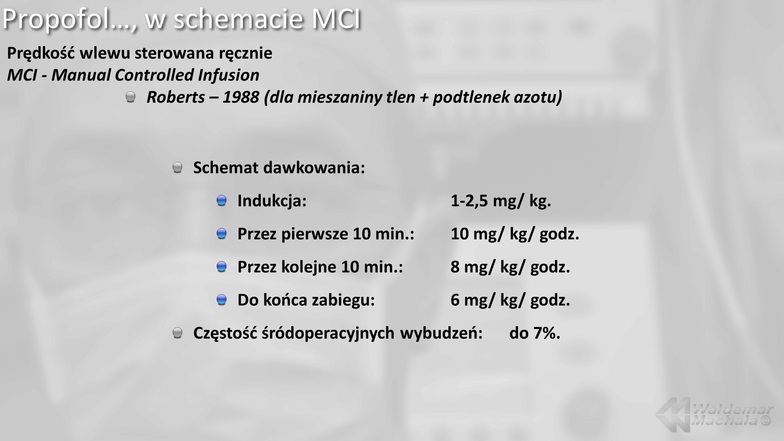 Propofol…, w schemacie MCI Prędkość wlewu sterowana ręcznie MCI - Manual Controlled Infusion Roberts – 1988 (dla mieszaniny tlen + podtlenek azotu) Sc