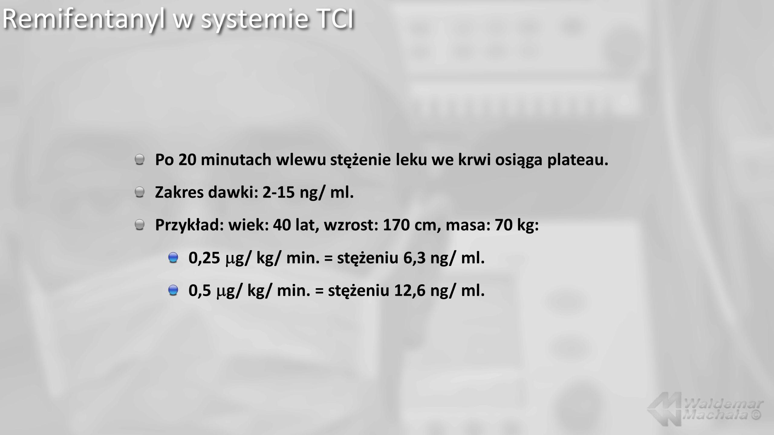 Remifentanyl w systemie TCI Po 20 minutach wlewu stężenie leku we krwi osiąga plateau. Zakres dawki: 2-15 ng/ ml. Przykład: wiek: 40 lat, wzrost: 170