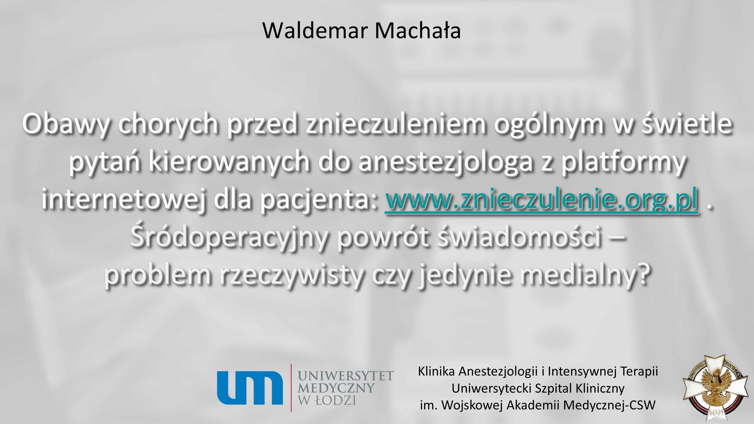 Czynności w okresie bezpośrednio poprzedzającym znieczulenie: Kontrola sprawności sprzętu (aparat, pompy strzykawkowe) i przygotowania leków.