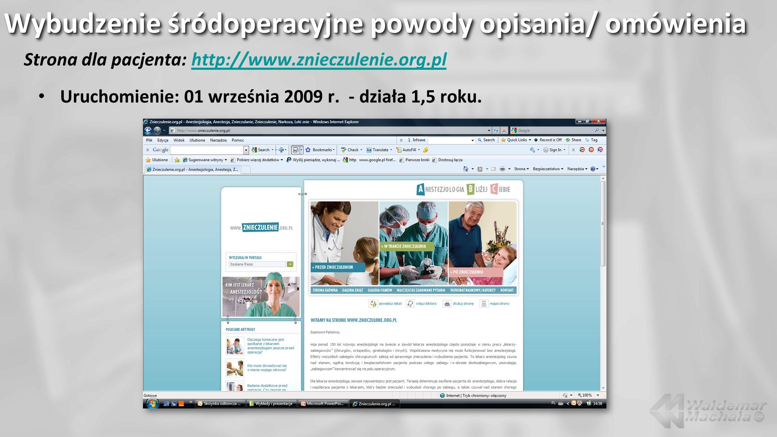 Strona dla pacjenta: http://www.znieczulenie.org.plhttp://www.znieczulenie.org.pl 172 listy – tyleż porad (w kilkudziesięciu przypadkach korespondencja z 2-6 listami).