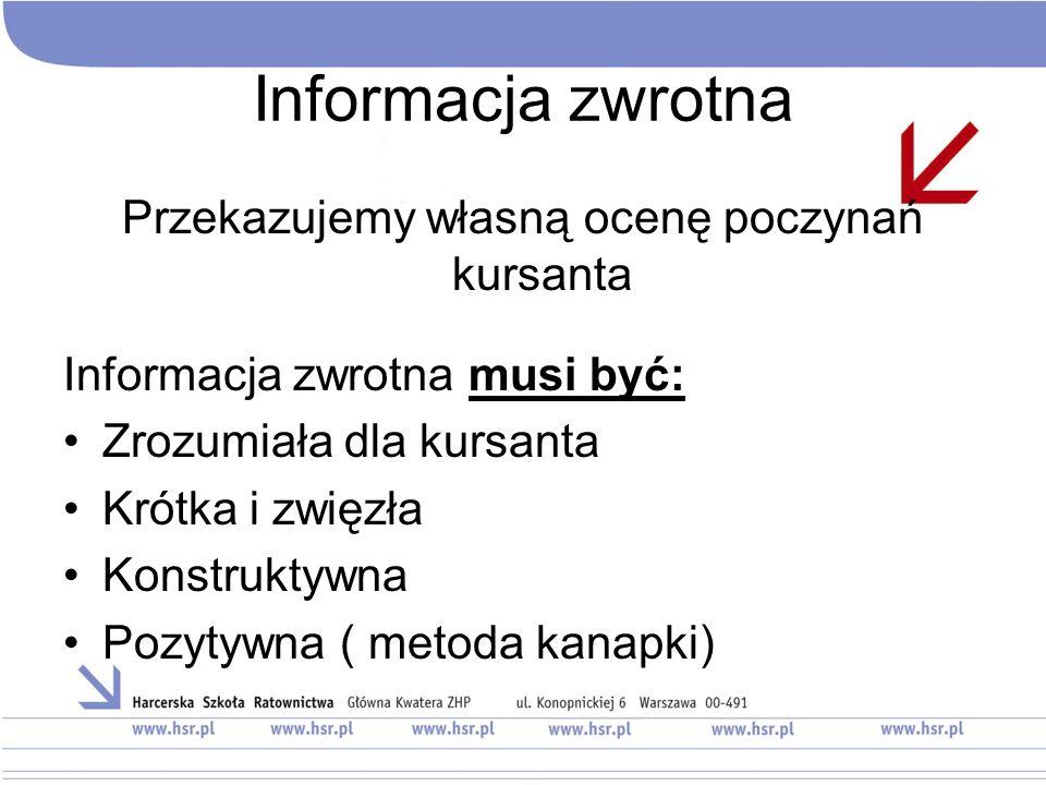 Informacja zwrotna Przekazujemy własną ocenę poczynań kursanta Informacja zwrotna musi być: Zrozumiała dla kursanta Krótka i zwięzła Konstruktywna Pozytywna ( metoda kanapki)