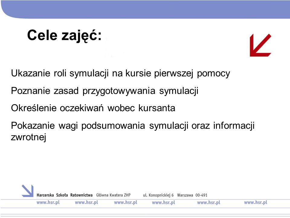 Cele zajęć: Ukazanie roli symulacji na kursie pierwszej pomocy Poznanie zasad przygotowywania symulacji Określenie oczekiwań wobec kursanta Pokazanie wagi podsumowania symulacji oraz informacji zwrotnej
