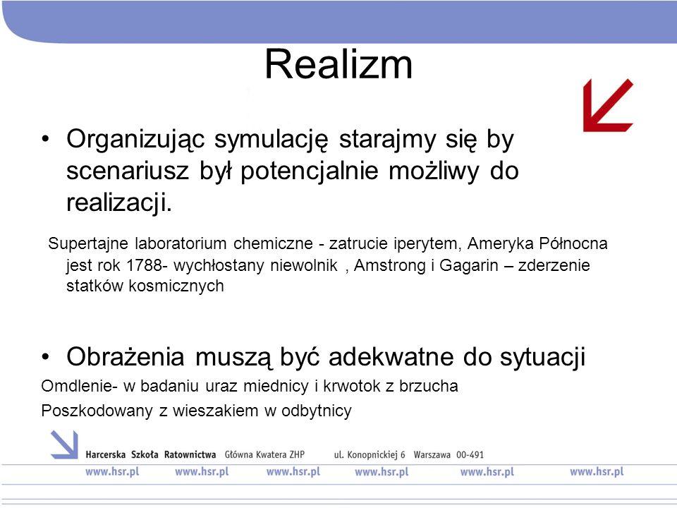 Realizm Organizując symulację starajmy się by scenariusz był potencjalnie możliwy do realizacji.