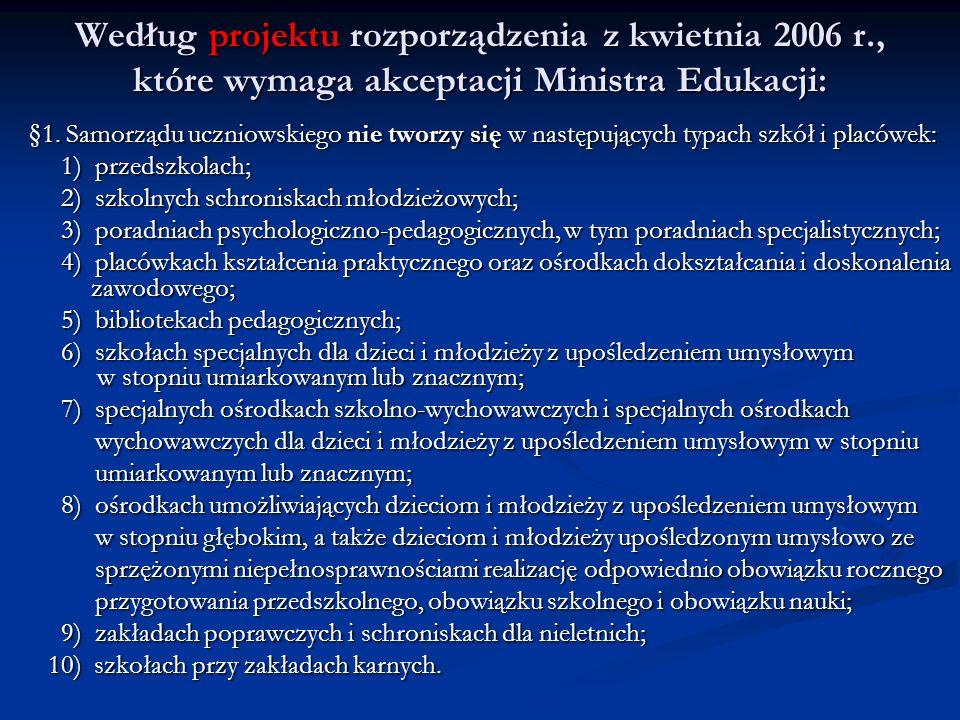 Według projektu rozporządzenia z kwietnia 2006 r., które wymaga akceptacji Ministra Edukacji: § 1. Samorządu uczniowskiego nie tworzy się w następując