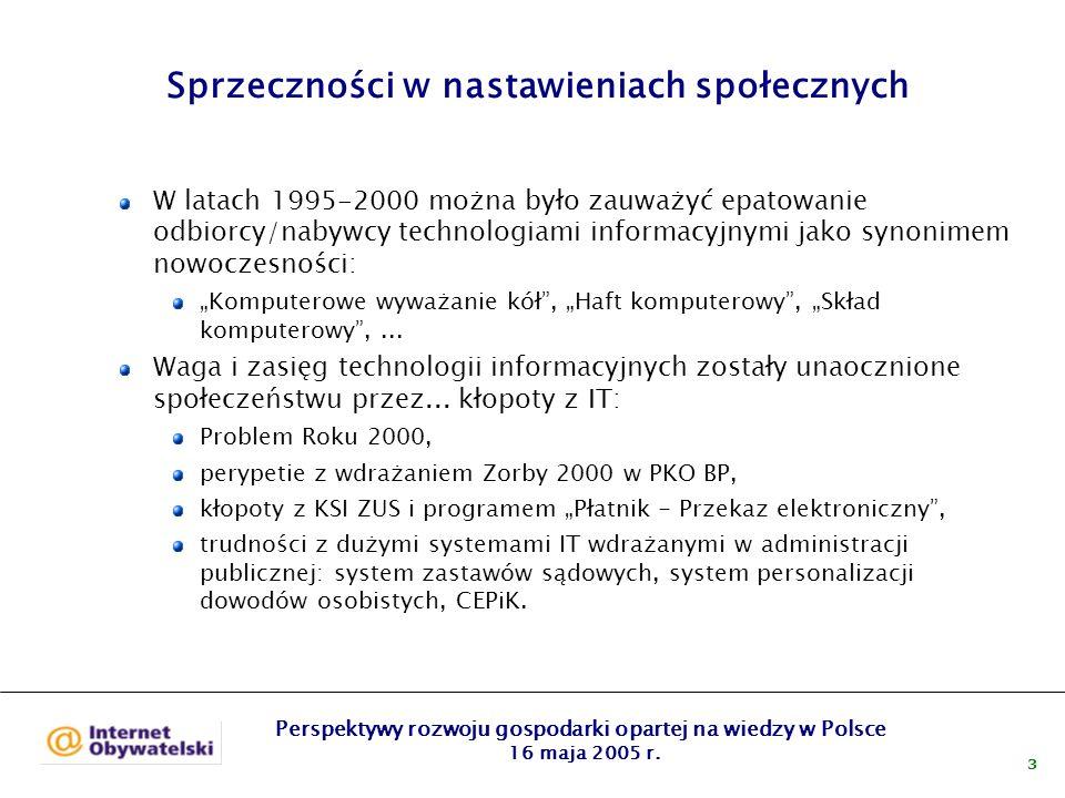 Perspektywy rozwoju gospodarki opartej na wiedzy w Polsce 16 maja 2005 r.