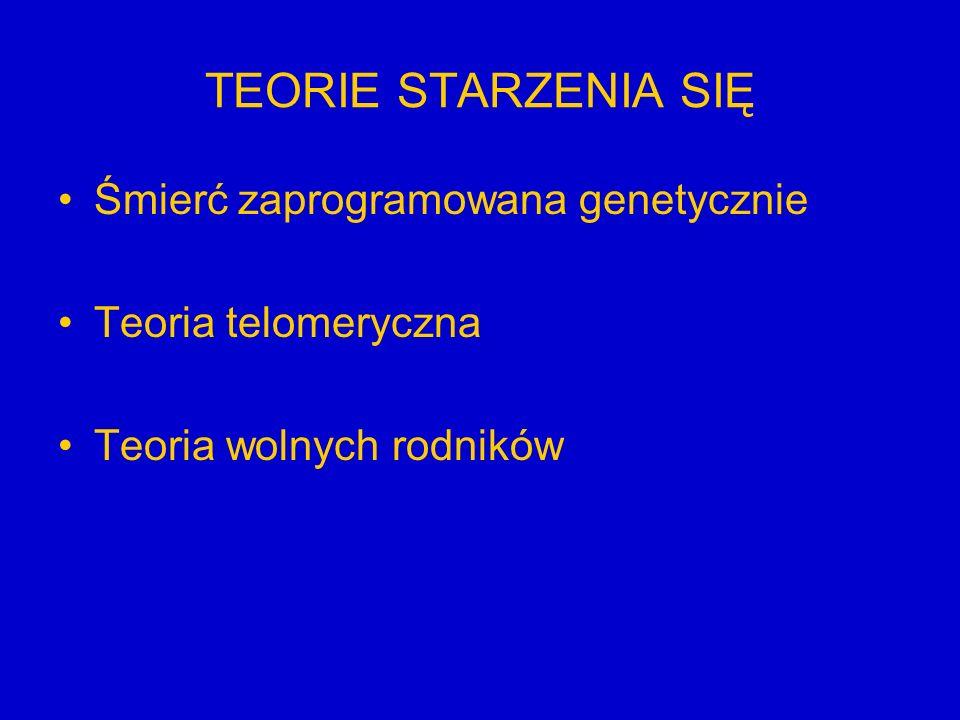 TEORIE STARZENIA SIĘ Śmierć zaprogramowana genetycznie Teoria telomeryczna Teoria wolnych rodników