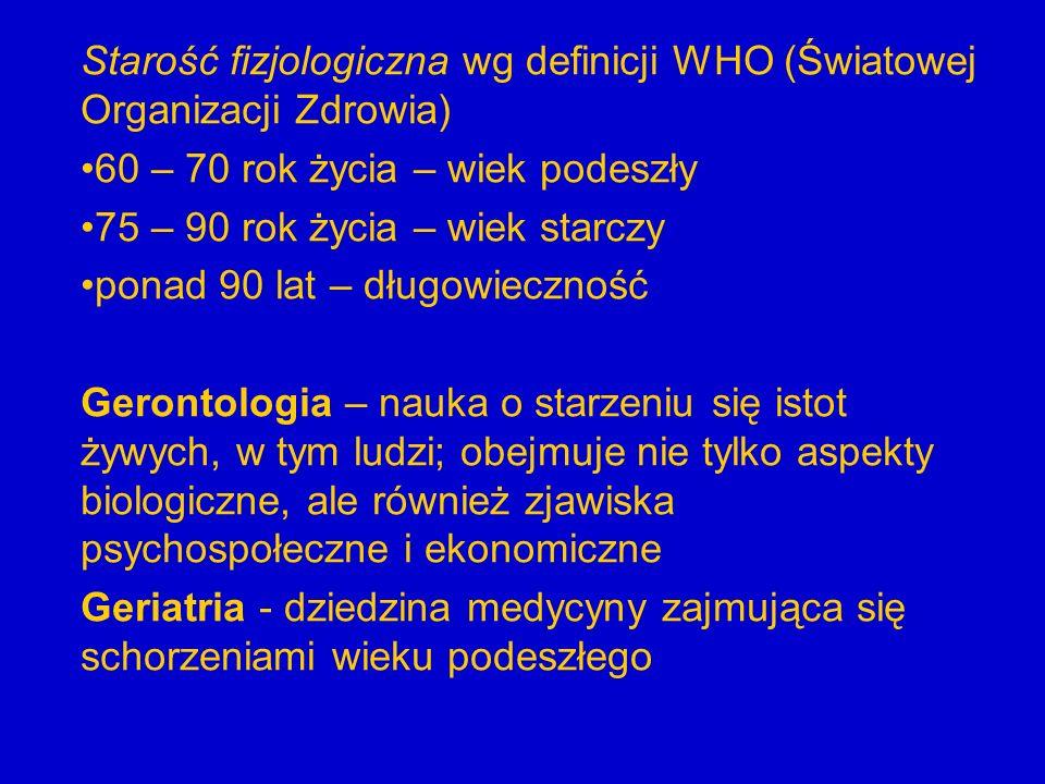 Starość fizjologiczna wg definicji WHO (Światowej Organizacji Zdrowia) 60 – 70 rok życia – wiek podeszły 75 – 90 rok życia – wiek starczy ponad 90 lat