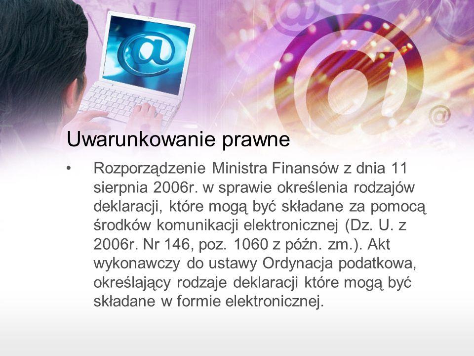 Uwarunkowanie prawne Rozporządzenie Ministra Finansów z dnia 11 sierpnia 2006r.