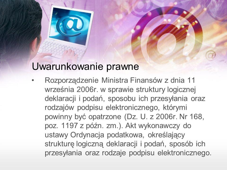 Uwarunkowanie prawne Rozporządzenie Ministra Finansów z dnia 11 września 2006r.