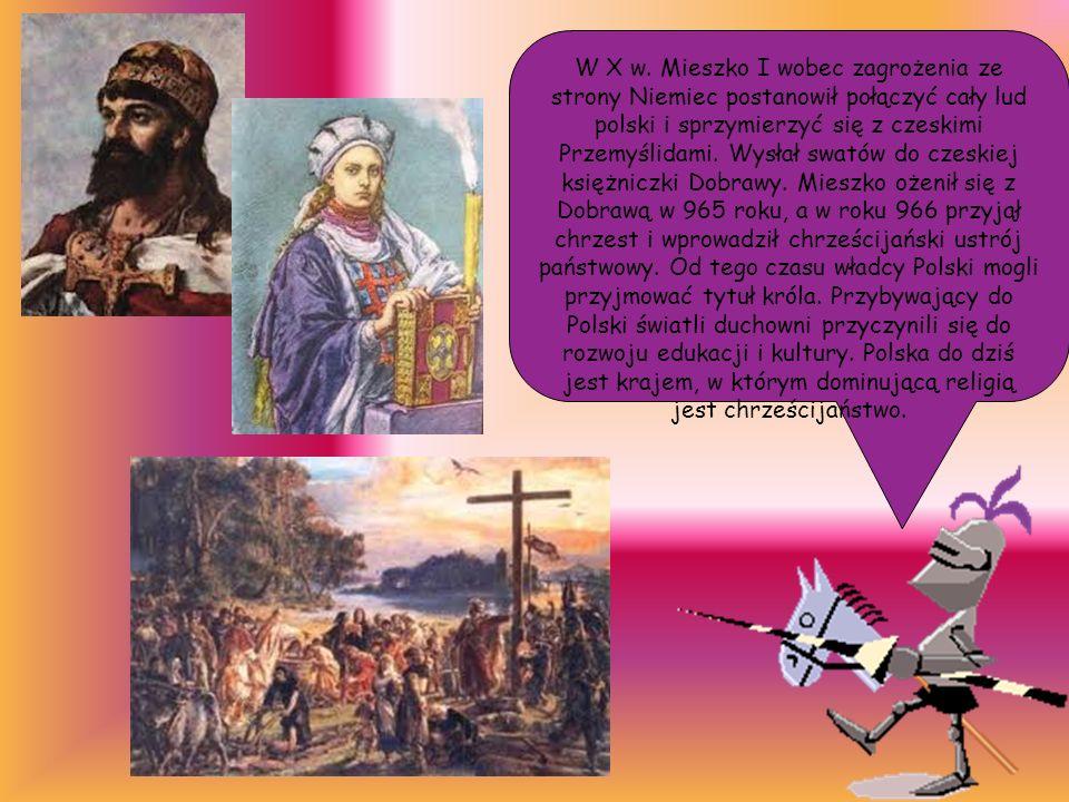 W X w. Mieszko I wobec zagrożenia ze strony Niemiec postanowił połączyć cały lud polski i sprzymierzyć się z czeskimi Przemyślidami. Wysłał swatów do
