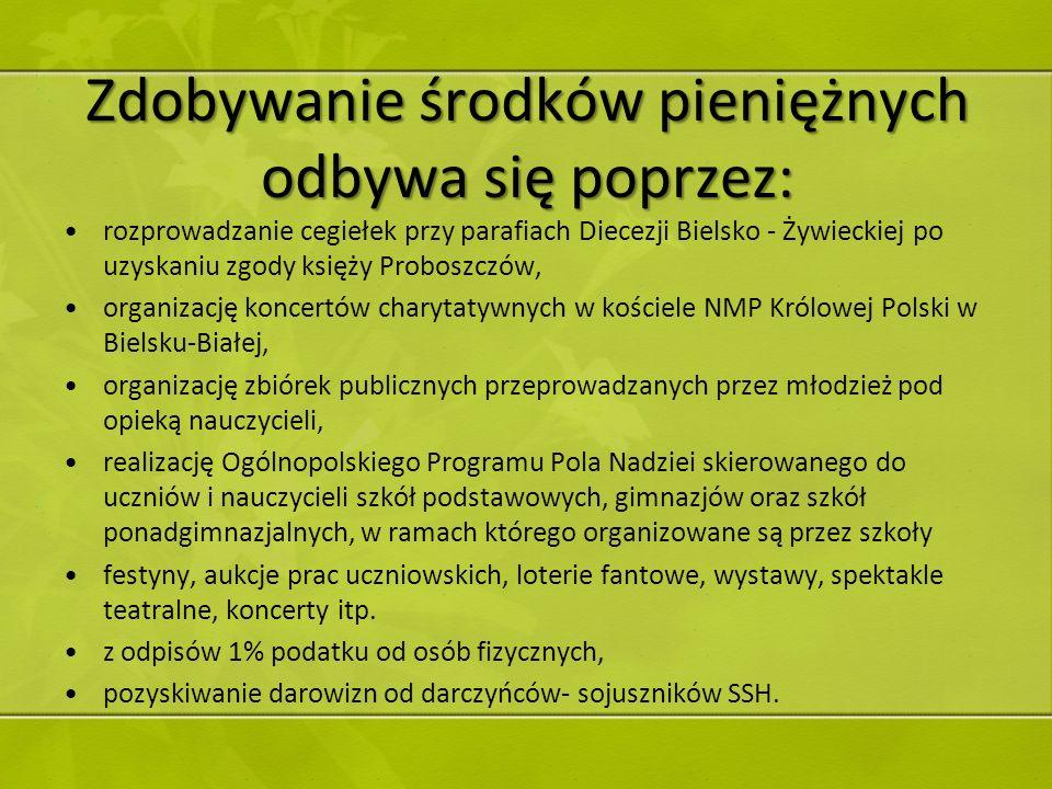 Zdobywanie środków pieniężnych odbywa się poprzez: rozprowadzanie cegiełek przy parafiach Diecezji Bielsko - Żywieckiej po uzyskaniu zgody księży Prob