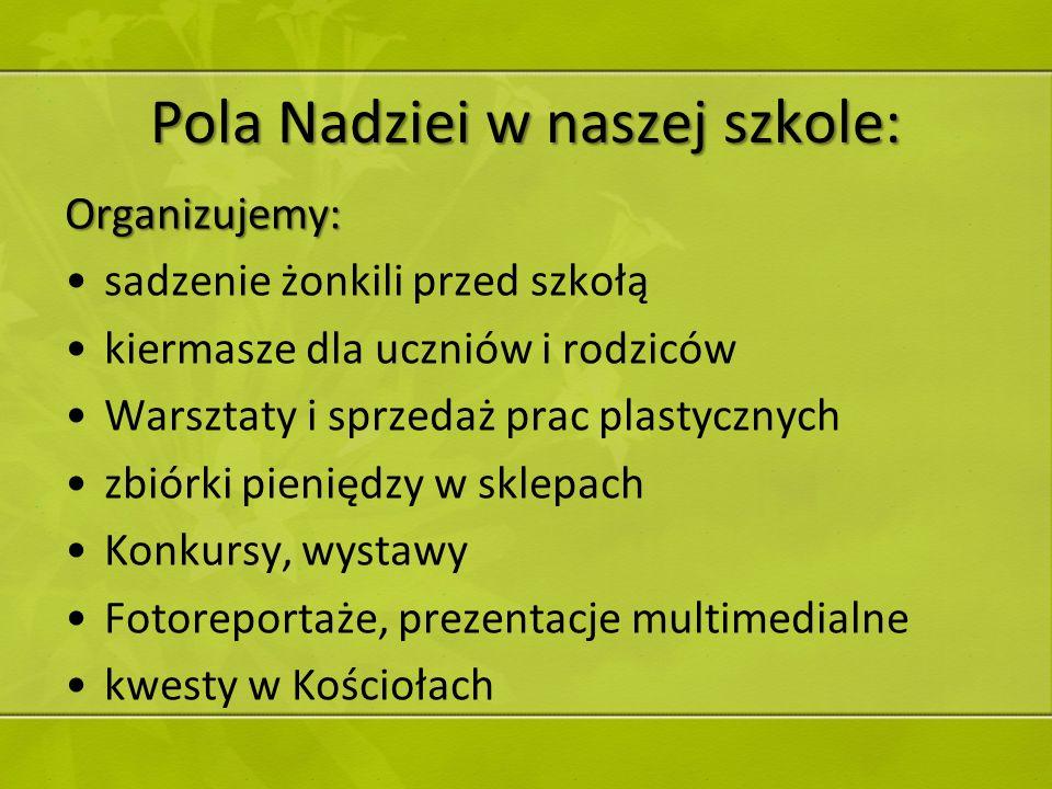 Pola Nadziei w naszej szkole: Organizujemy: sadzenie żonkili przed szkołą kiermasze dla uczniów i rodziców Warsztaty i sprzedaż prac plastycznych zbió