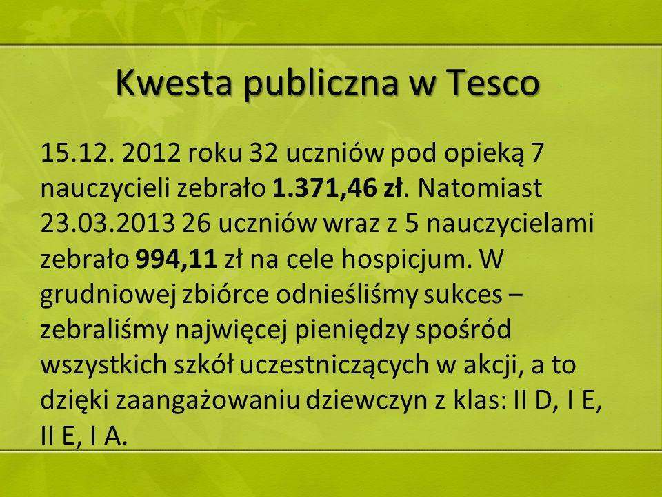 Kwesta publiczna w Tesco 15.12. 2012 roku 32 uczniów pod opieką 7 nauczycieli zebrało 1.371,46 zł. Natomiast 23.03.2013 26 uczniów wraz z 5 nauczyciel