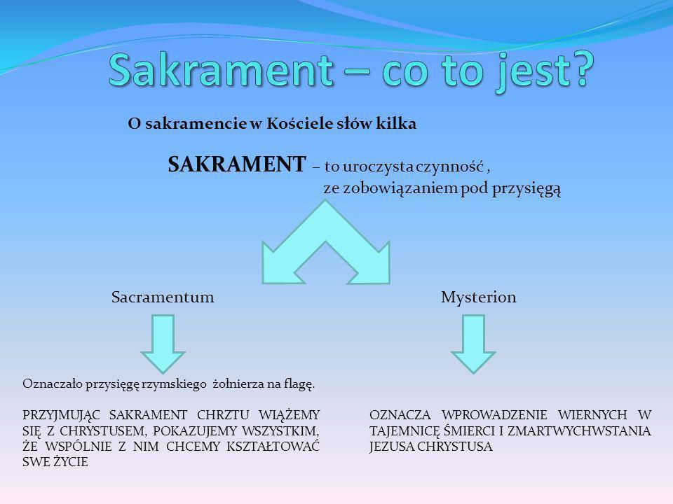 O sakramencie w Kościele słów kilka SAKRAMENT – to uroczysta czynność, ze zobowiązaniem pod przysięgą SacramentumMysterion Oznaczało przysięgę rzymski