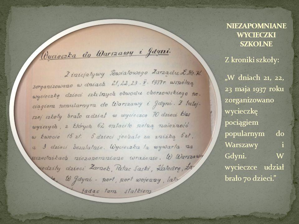 Z kroniki szkoły: W dniach 21, 22, 23 maja 1937 roku zorganizowano wycieczkę pociągiem popularnym do Warszawy i Gdyni. W wycieczce udział brało 70 dzi
