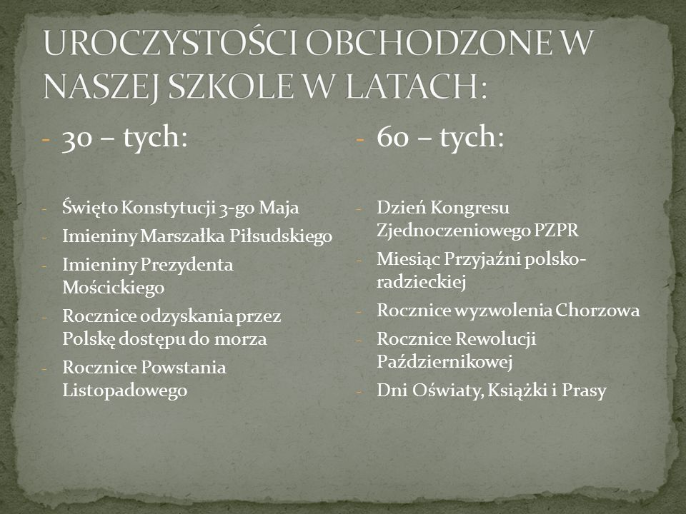 - 30 – tych: - Święto Konstytucji 3-go Maja - Imieniny Marszałka Piłsudskiego - Imieniny Prezydenta Mościckiego - Rocznice odzyskania przez Polskę dos