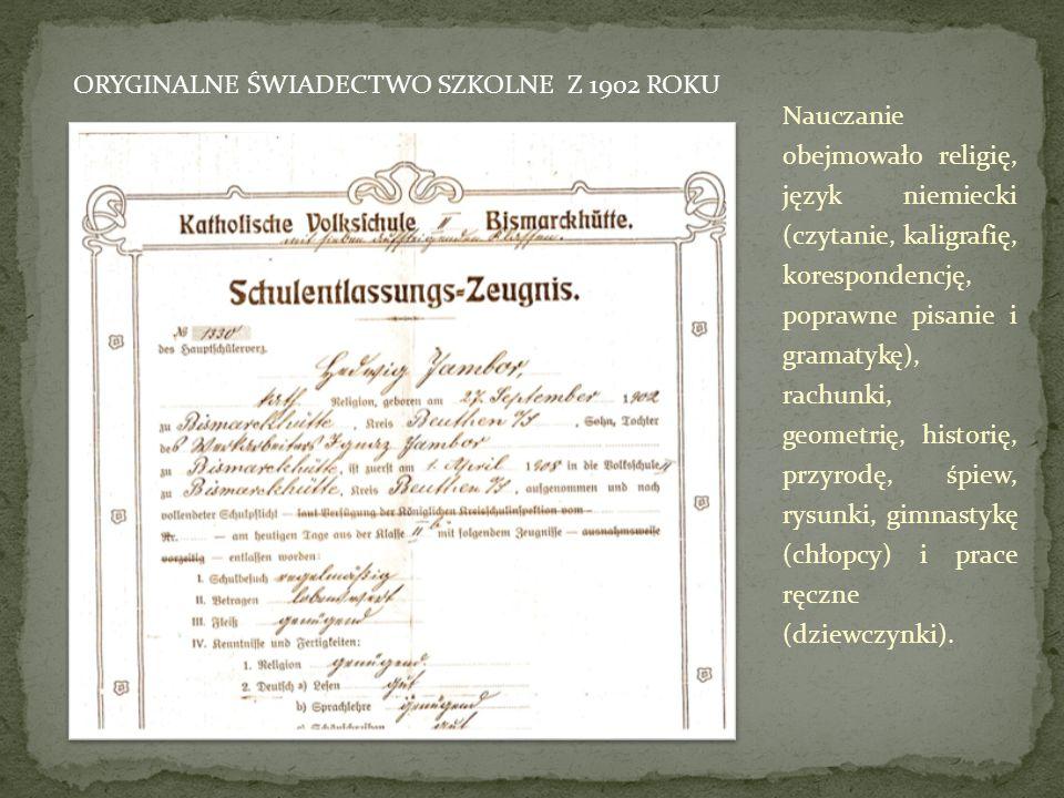 Nauczanie obejmowało religię, język niemiecki (czytanie, kaligrafię, korespondencję, poprawne pisanie i gramatykę), rachunki, geometrię, historię, prz