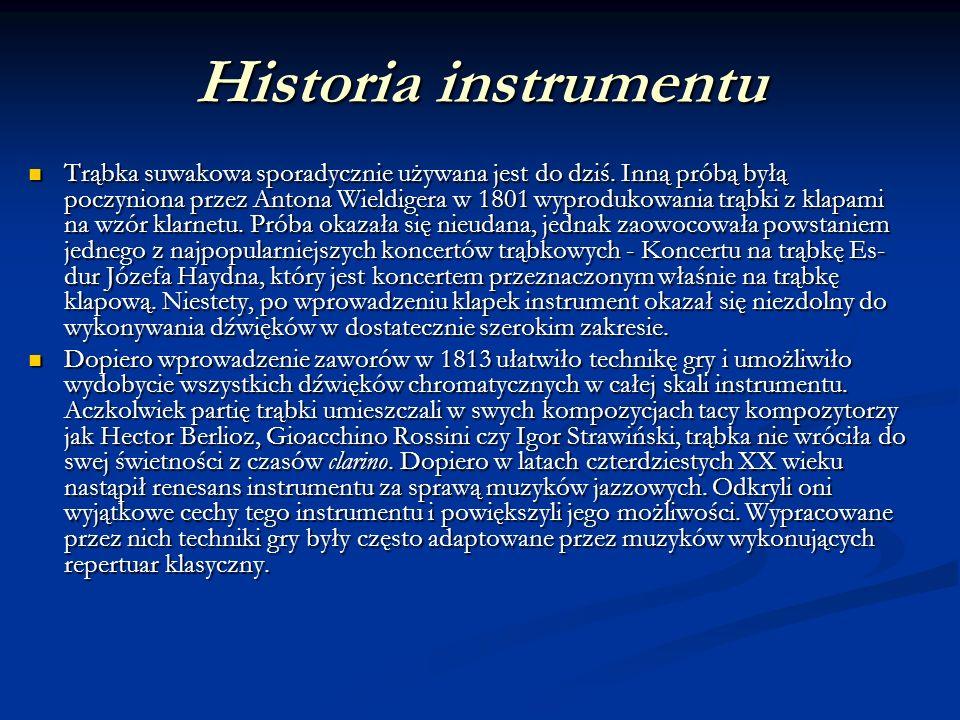 Historia instrumentu Trąbka suwakowa sporadycznie używana jest do dziś. Inną próbą byłą poczyniona przez Antona Wieldigera w 1801 wyprodukowania trąbk