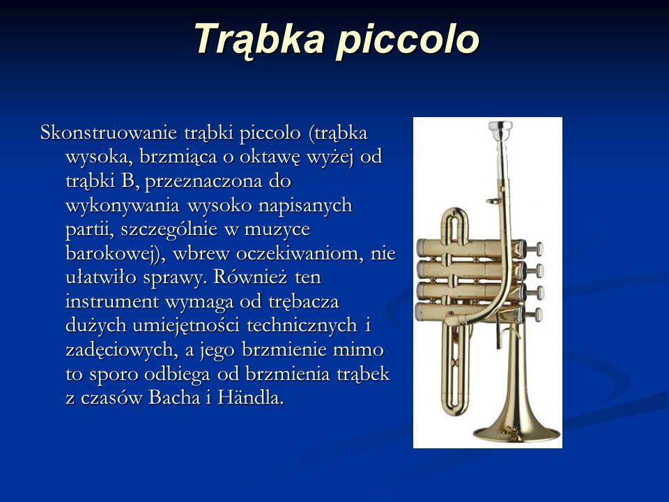 Trąbka piccolo Skonstruowanie trąbki piccolo (trąbka wysoka, brzmiąca o oktawę wyżej od trąbki B, przeznaczona do wykonywania wysoko napisanych partii, szczególnie w muzyce barokowej), wbrew oczekiwaniom, nie ułatwiło sprawy.