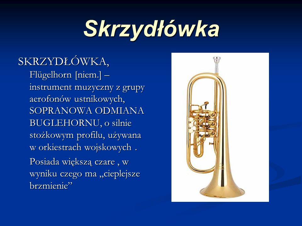 Skrzydłówka SKRZYDŁÓWKA, Flügelhorn [niem.] – instrument muzyczny z grupy aerofonów ustnikowych, SOPRANOWA ODMIANA BUGLEHORNU, o silnie stożkowym profilu, używana w orkiestrach wojskowych.
