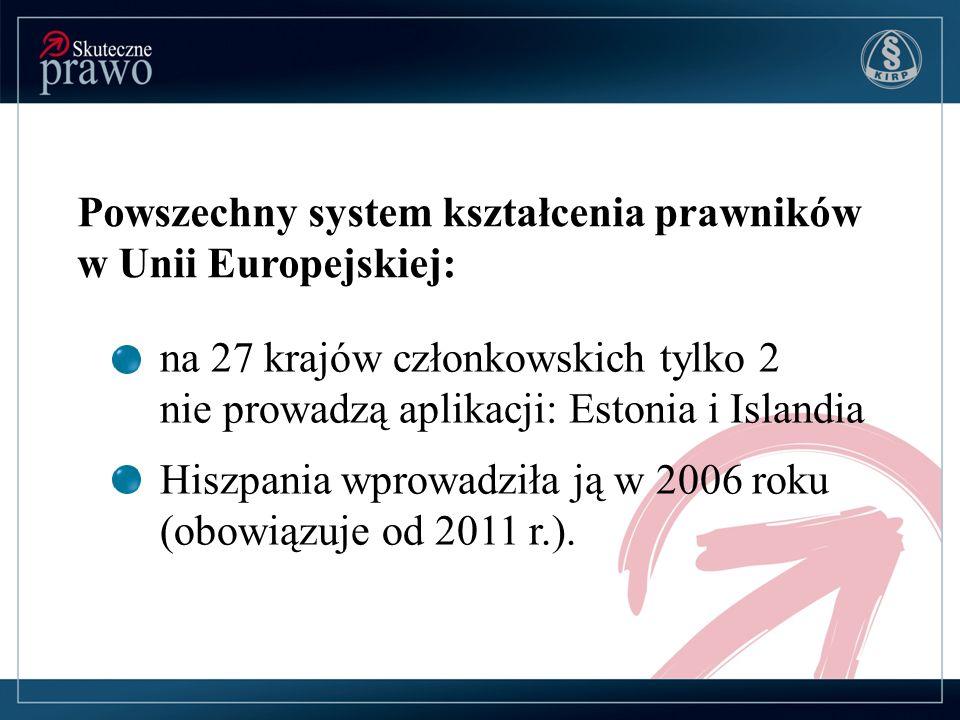 Powszechny system kształcenia prawników w Unii Europejskiej: na 27 krajów członkowskich tylko 2 nie prowadzą aplikacji: Estonia i Islandia Hiszpania w