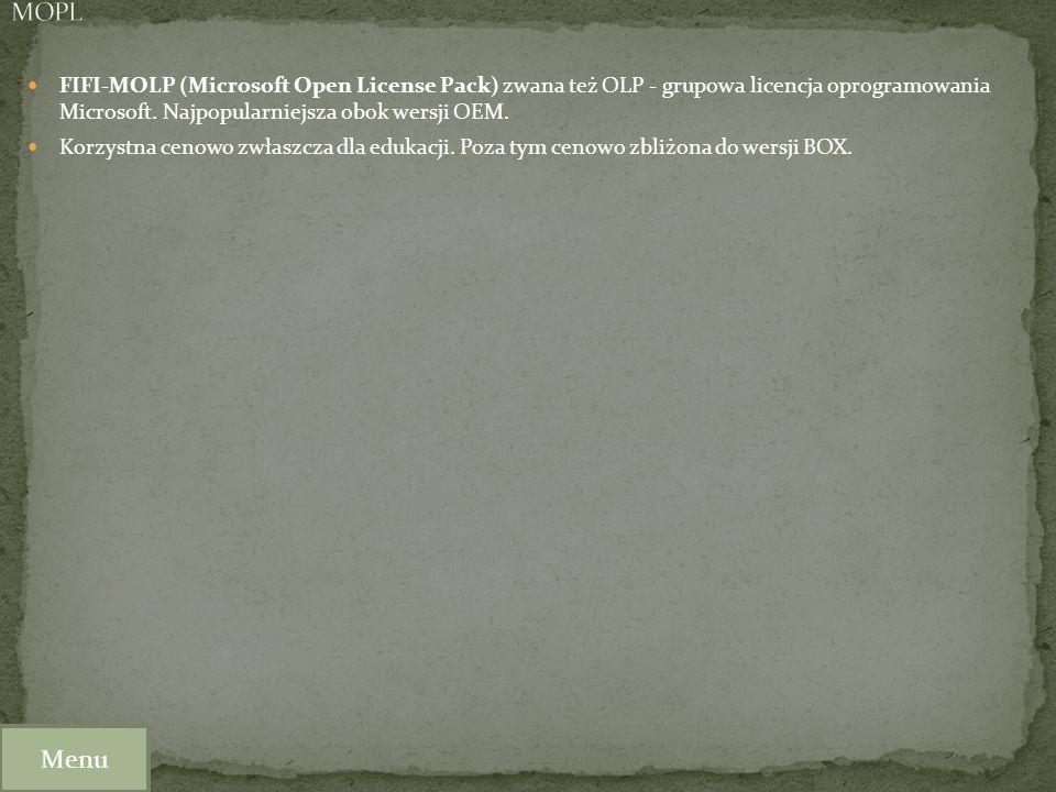 FIFI-MOLP (Microsoft Open License Pack) zwana też OLP - grupowa licencja oprogramowania Microsoft. Najpopularniejsza obok wersji OEM. Korzystna cenowo