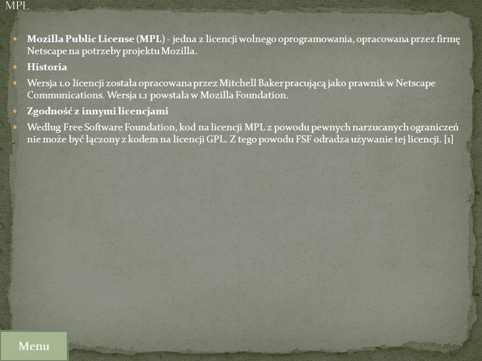 Mozilla Public License (MPL) - jedna z licencji wolnego oprogramowania, opracowana przez firmę Netscape na potrzeby projektu Mozilla. Historia Wersja