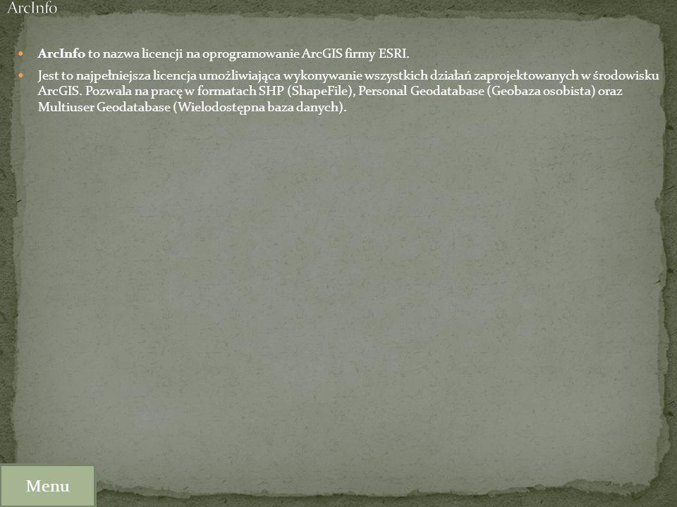 ArcInfo to nazwa licencji na oprogramowanie ArcGIS firmy ESRI. Jest to najpełniejsza licencja umożliwiająca wykonywanie wszystkich działań zaprojektow