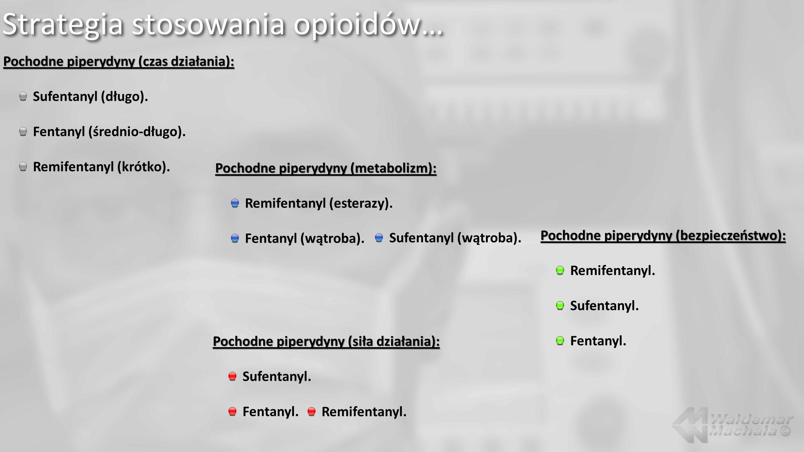 Pochodne piperydyny (czas działania): Sufentanyl (długo). Fentanyl (średnio-długo). Remifentanyl (krótko). Pochodne piperydyny (bezpieczeństwo): Remif