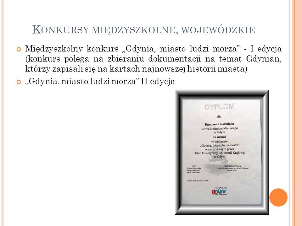 Międzyszkolny konkurs Gdynia, miasto ludzi morza - I edycja (konkurs polega na zbieraniu dokumentacji na temat Gdynian, którzy zapisali się na kartach