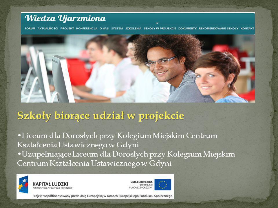 Szkoły biorące udział w projekcie Liceum dla Dorosłych przy Kolegium Miejskim Centrum Kształcenia Ustawicznego w Gdyni Uzupełniające Liceum dla Dorosłych przy Kolegium Miejskim Centrum Kształcenia Ustawicznego w Gdyni