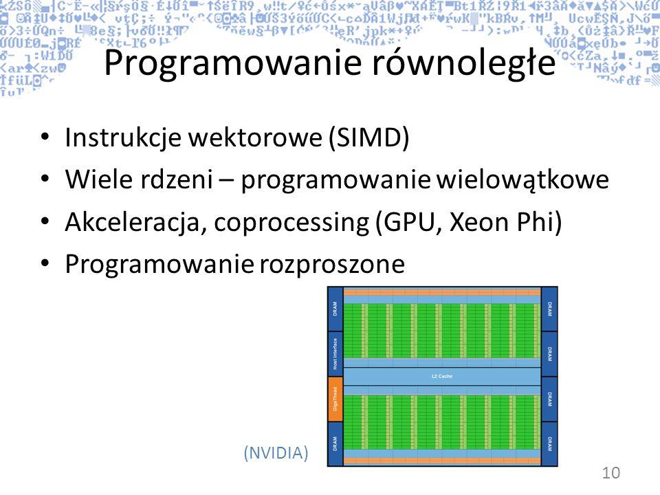 Programowanie równoległe Instrukcje wektorowe (SIMD) Wiele rdzeni – programowanie wielowątkowe Akceleracja, coprocessing (GPU, Xeon Phi) Programowanie