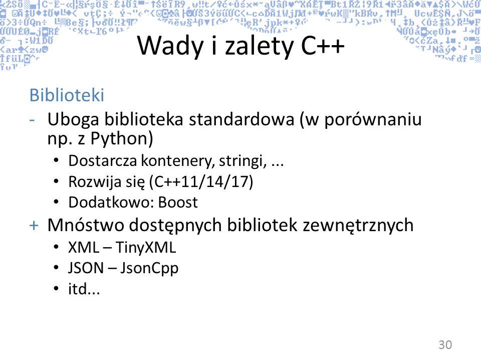Wady i zalety C++ Biblioteki -Uboga biblioteka standardowa (w porównaniu np. z Python) Dostarcza kontenery, stringi,... Rozwija się (C++11/14/17) Doda