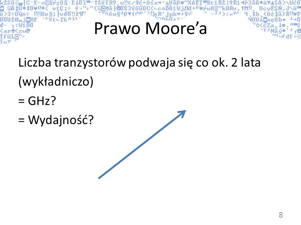 Prawo Moorea Liczba tranzystorów podwaja się co ok. 2 lata (wykładniczo) = GHz? = Wydajność? 8