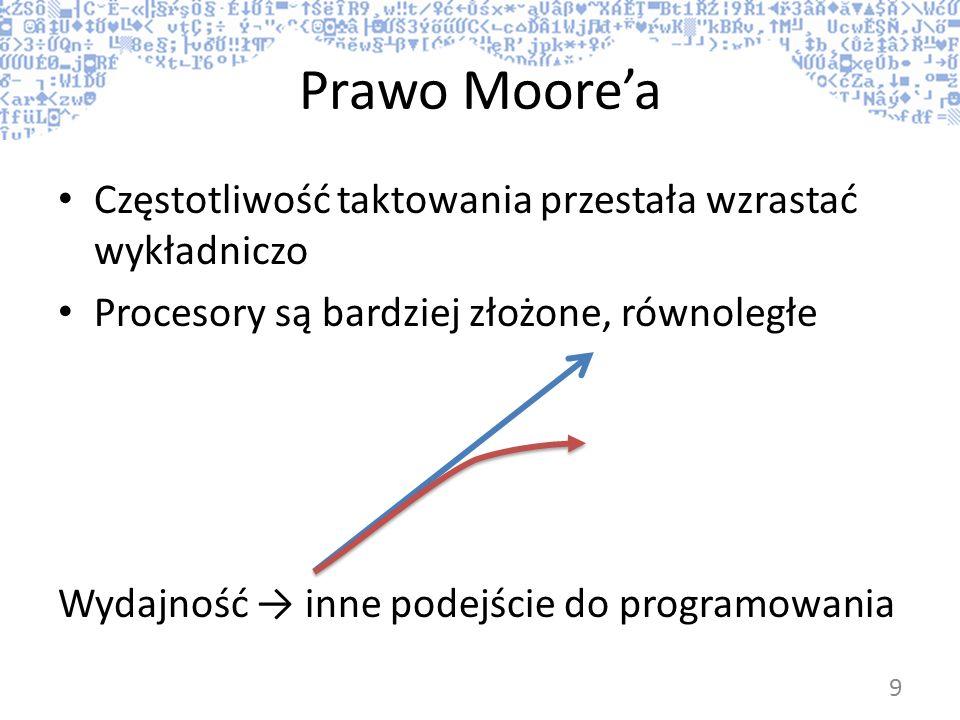 Prawo Moorea Częstotliwość taktowania przestała wzrastać wykładniczo Procesory są bardziej złożone, równoległe Wydajność inne podejście do programowan