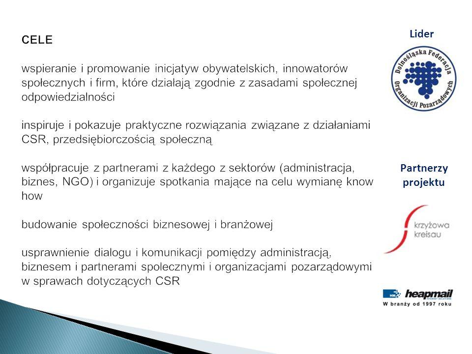 CELE wspieranie i promowanie inicjatyw obywatelskich, innowatorów społecznych i firm, które działają zgodnie z zasadami społecznej odpowiedzialności i