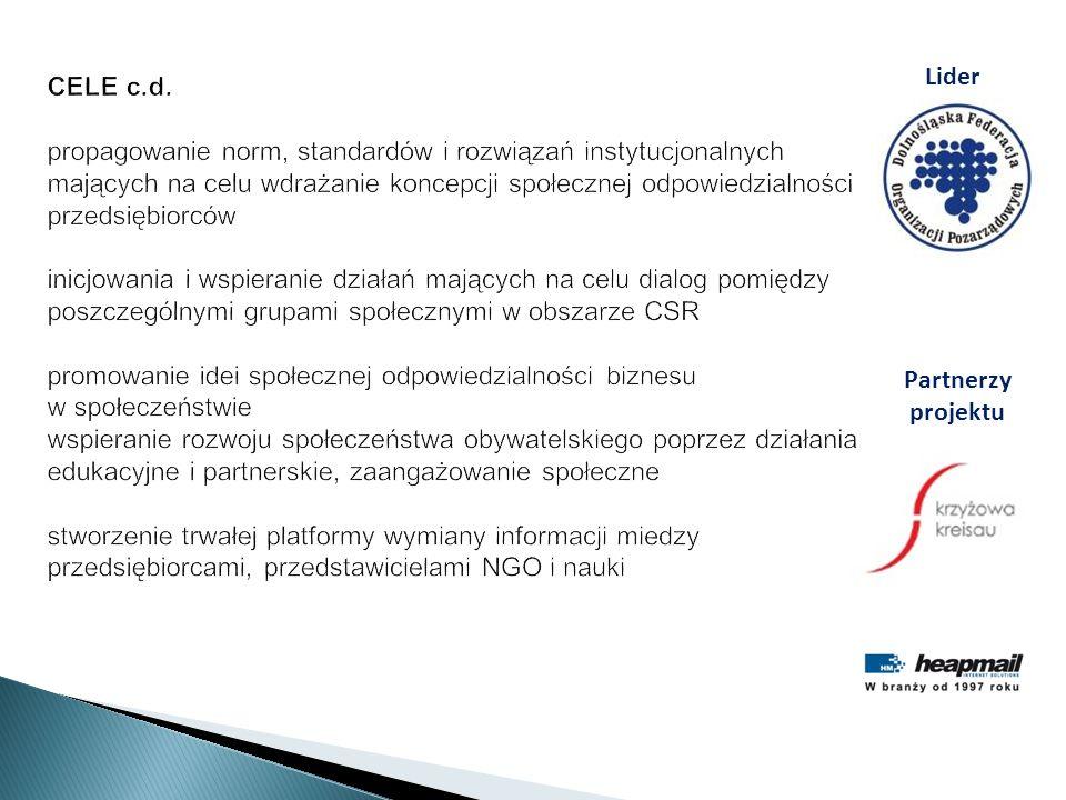 CELE c.d. propagowanie norm, standardów i rozwiązań instytucjonalnych mających na celu wdrażanie koncepcji społecznej odpowiedzialności przedsiębiorcó