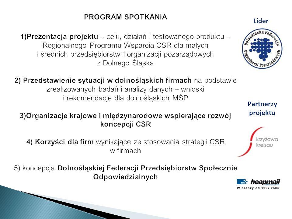 PROGRAM SPOTKANIA 1)Prezentacja projektu – celu, działań i testowanego produktu – Regionalnego Programu Wsparcia CSR dla małych i średnich przedsiębio
