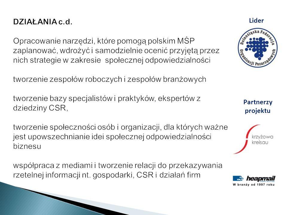 DZIAŁANIA c.d. Opracowanie narzędzi, które pomogą polskim MŚP zaplanować, wdrożyć i samodzielnie ocenić przyjętą przez nich strategie w zakresie społe