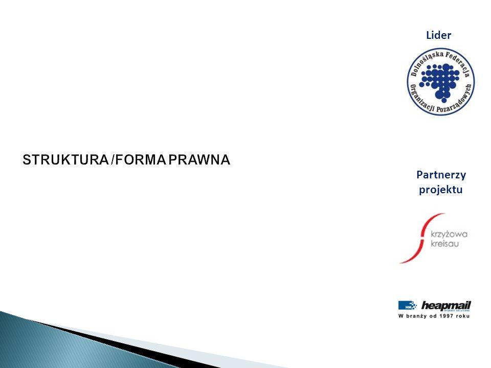 STRUKTURA /FORMA PRAWNA Lider Partnerzy projektu