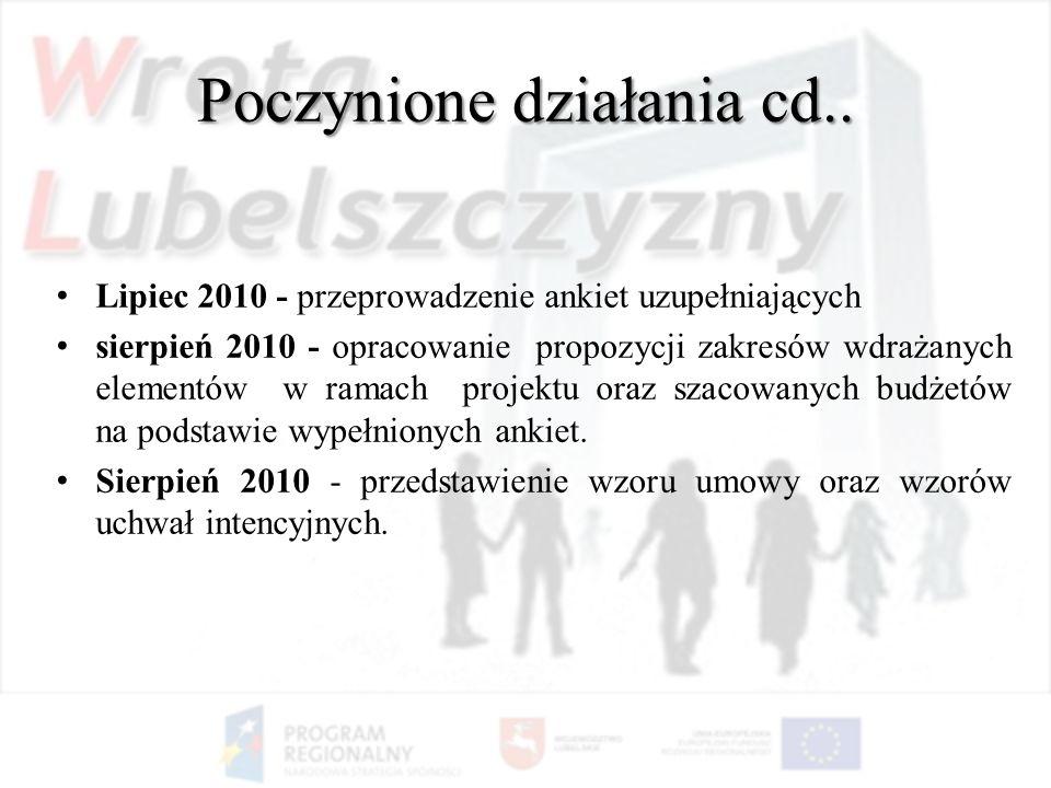 Lipiec 2010 - przeprowadzenie ankiet uzupełniających sierpień 2010 - opracowanie propozycji zakresów wdrażanych elementów w ramach projektu oraz szaco