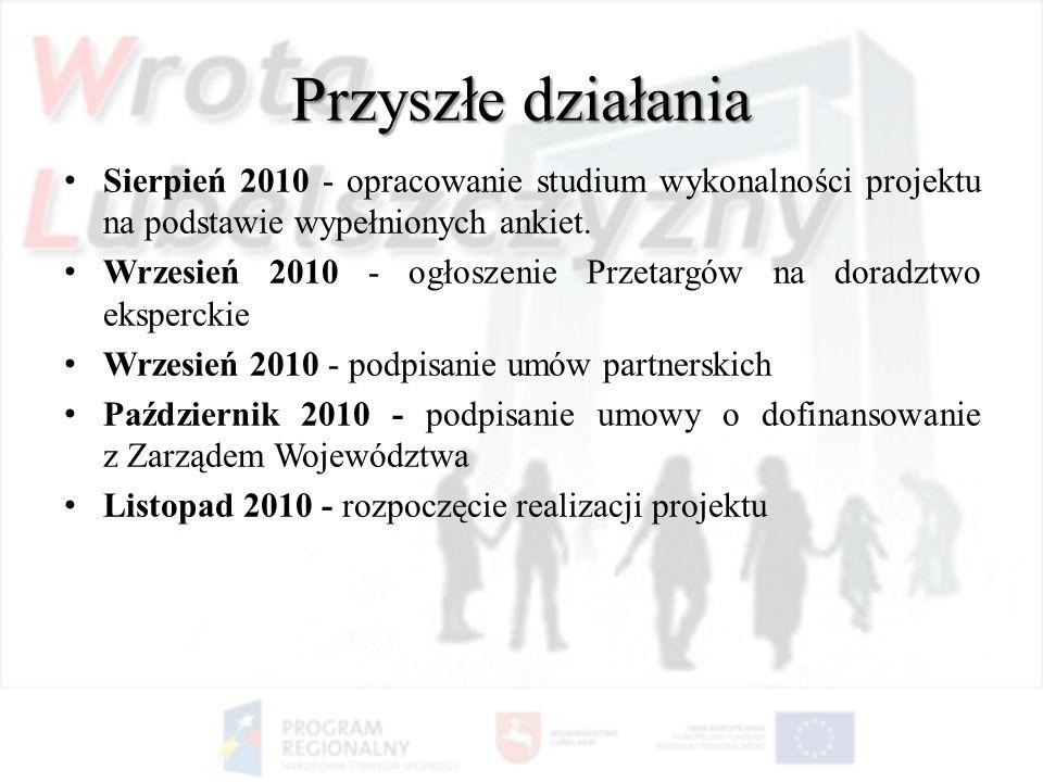 Przyszłe działania Sierpień 2010 - opracowanie studium wykonalności projektu na podstawie wypełnionych ankiet. Wrzesień 2010 - ogłoszenie Przetargów n