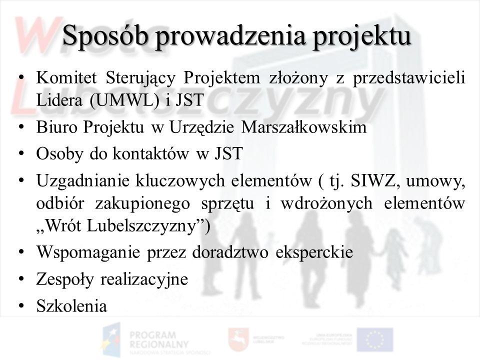 Sposób prowadzenia projektu Komitet Sterujący Projektem złożony z przedstawicieli Lidera (UMWL) i JST Biuro Projektu w Urzędzie Marszałkowskim Osoby d