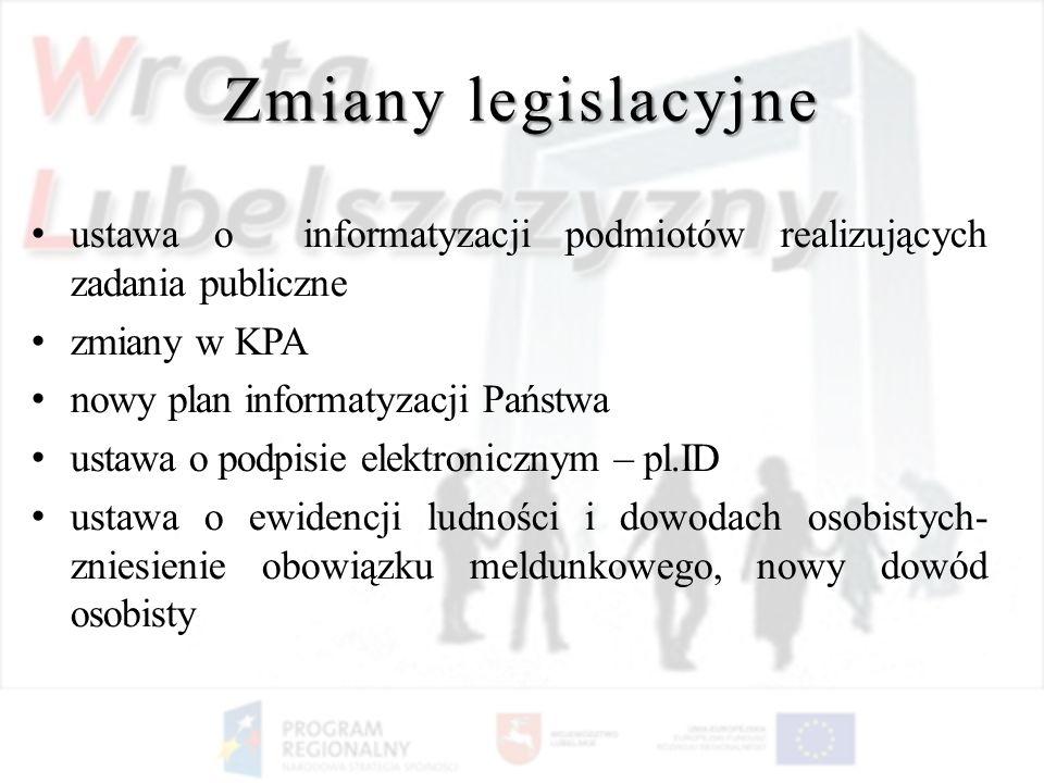 Zmiany legislacyjne ustawa o informatyzacji podmiotów realizujących zadania publiczne zmiany w KPA nowy plan informatyzacji Państwa ustawa o podpisie