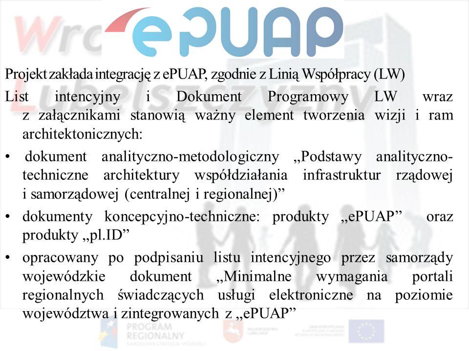 Projekt zakłada integrację z ePUAP, zgodnie z Linią Współpracy (LW) List intencyjny i Dokument Programowy LW wraz z załącznikami stanowią ważny elemen