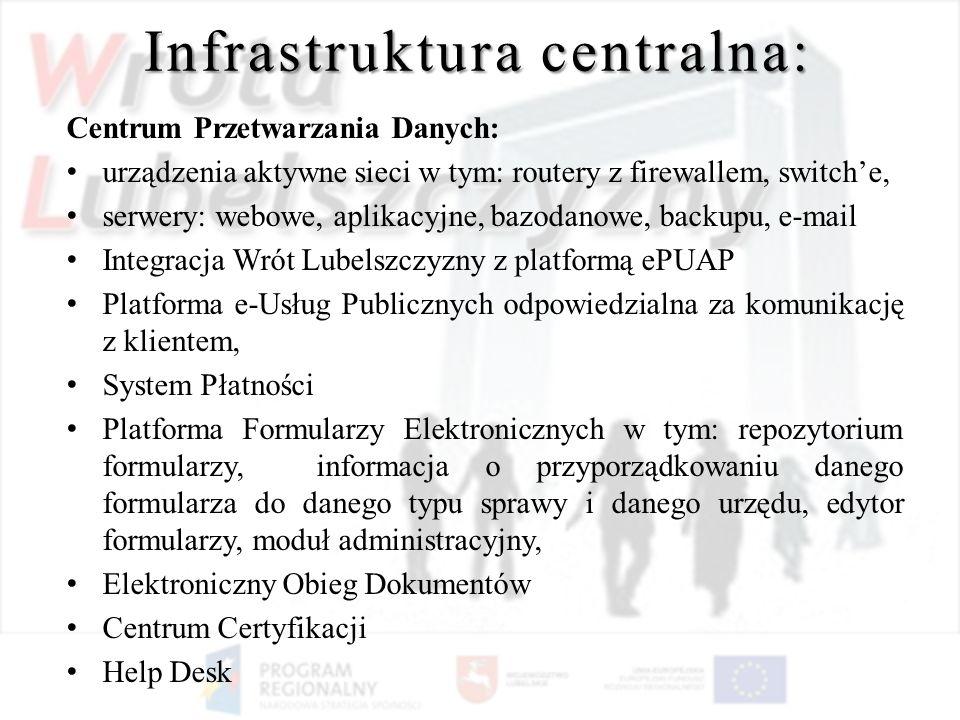 Infrastruktura centralna: Centrum Przetwarzania Danych: urządzenia aktywne sieci w tym: routery z firewallem, switche, serwery: webowe, aplikacyjne, b